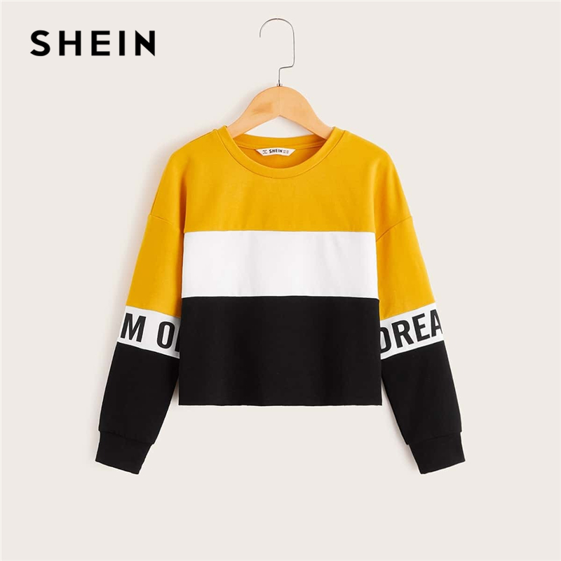 SHEIN Kiddie Girls Multicolor Letter Print Cut-And-Sew Sweatshirt Kids Tops 2019 Autumn Long Sleeve Colorblock Casual Pullovers