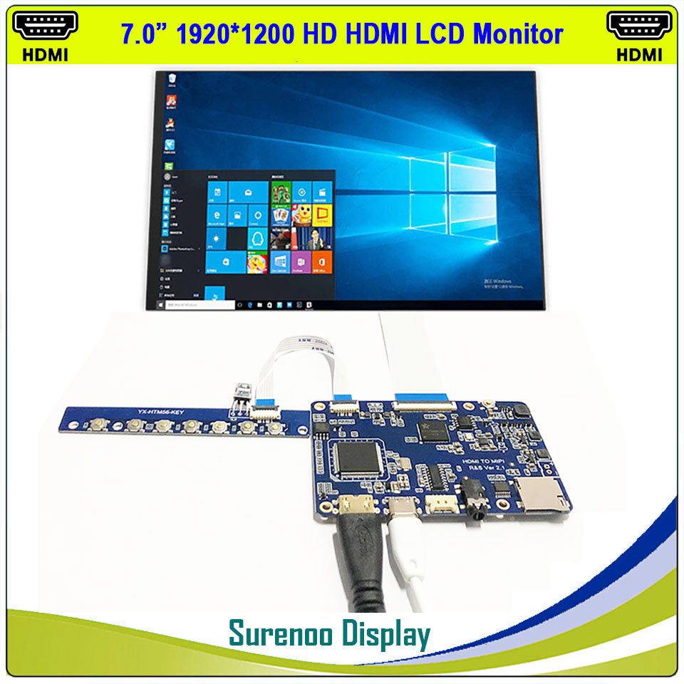 """7"""" 1200*1920 IPS LCD Module Monitor Display Panel LT070ME05000 With Mini HDMI To MIPI Board Media SD Player"""