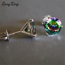 RongXing 6 мм круглый Радужный циркон 3 коготь спиральный гвоздик серьги для женщин 925 Серебро Заполненный многоцветный кристалл серьги изысканный подарок