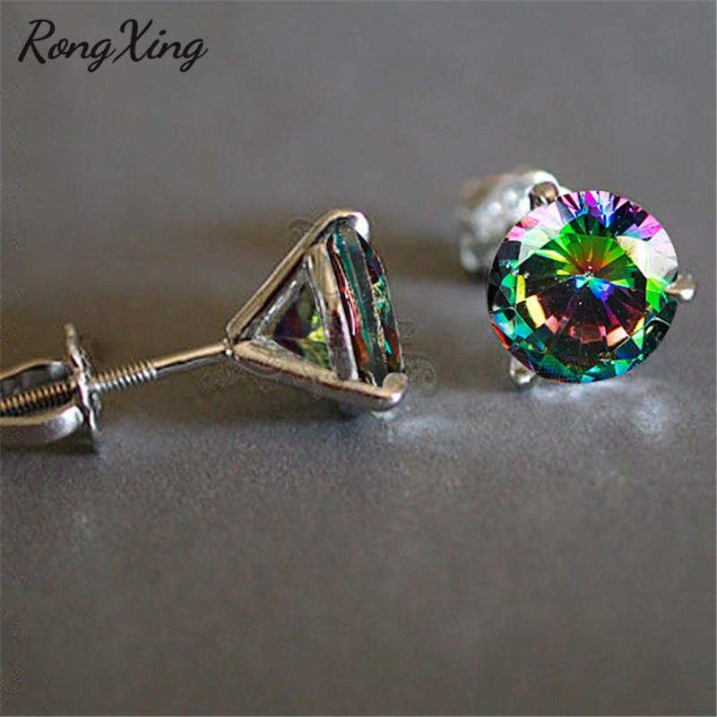 RongXing 6MM Round Rainbow Zircon 3 Claw Spiral Stud Earrings for Women White Gold Filled Multicolor Crystal Earring Dainty Gift