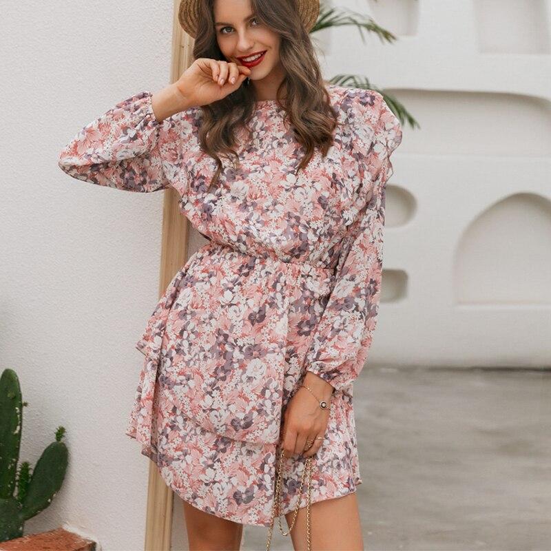 Elegant Floral Print Puff Sleeve A-Line Chiffon High Waist Sash Work Office Pink Dress 4