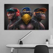 Animal pintura engraçado fone de ouvido gorila quadros a óleo da lona arte da parede posters e impressão em tela para sala estar decoração