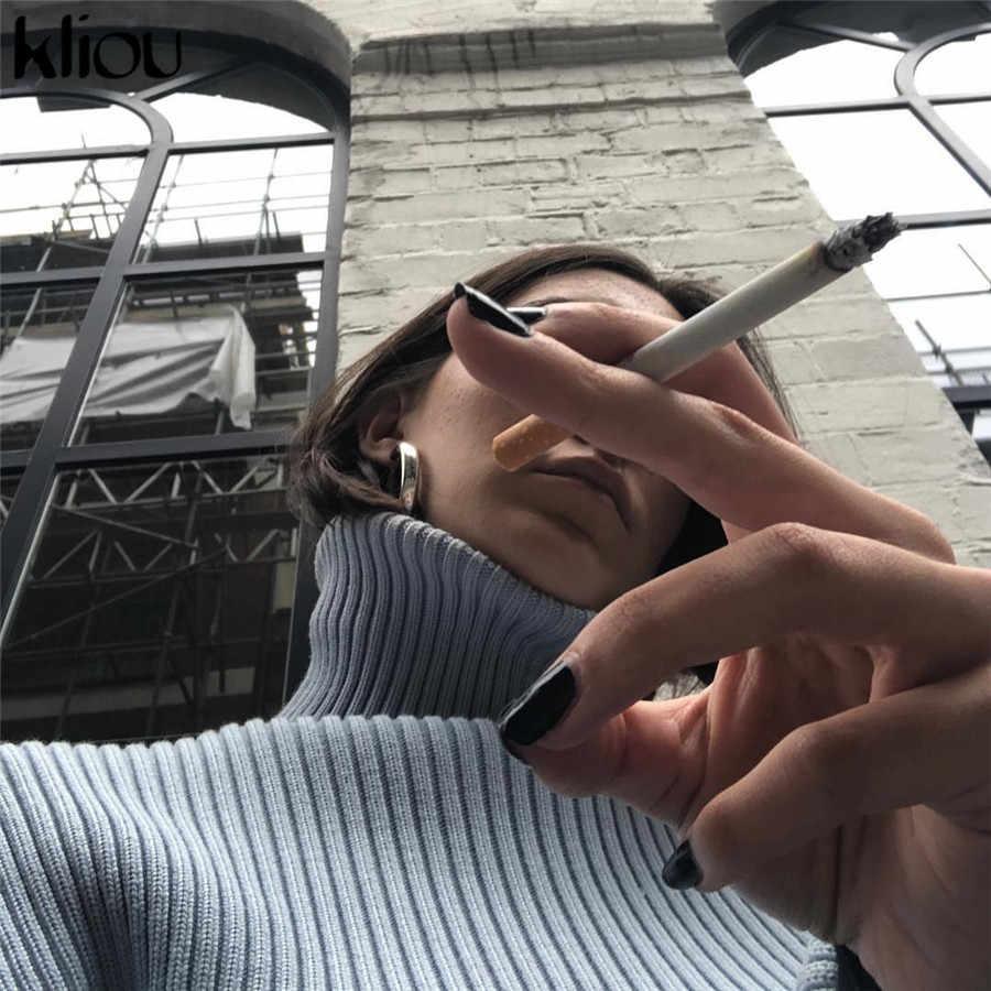 Kliou azul ajustado pulóveres cortos otoño cuello alto manga larga Crop top 2019 Casual ropa de calle mujeres suéter Suelto