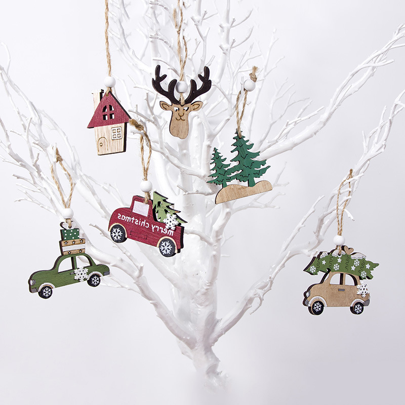 new year merry Christmas Pendant Shop Cabin Creative xmas tree Wooden Deer Car House Tree Attractive pendants baubles image