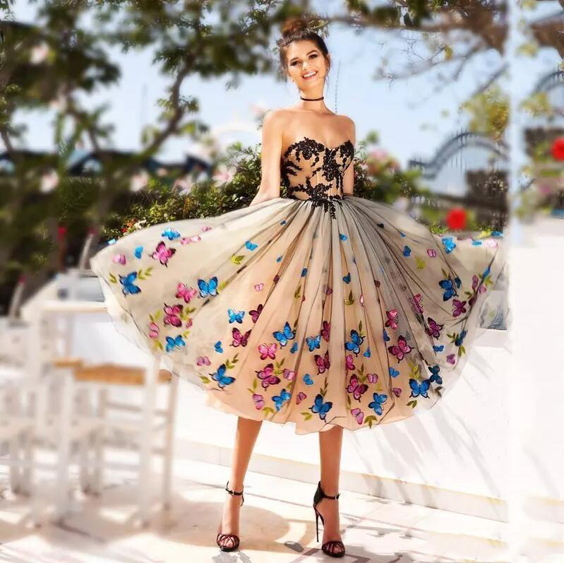 2020 New Fashion Evening Dress Ball Gown Colorful Butterfly Sweetheart Lace Party Bandage Halter Formal Dresses 4