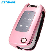 лучшая цена ATOBABI TPU Car Key Cover For Chevrolet Camaro Cruze Equinox Malibu Sonic Spark Volt Aveo Epica SAIL Buick Folding Remote Case