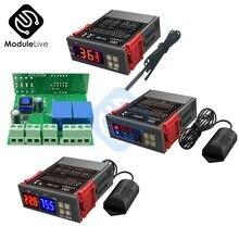 Stc1000 3028 12v 110-220v linha de ponta de prova 20a controle de temperatura digital display led termostato com calor/instrumento de controle de refrigeração
