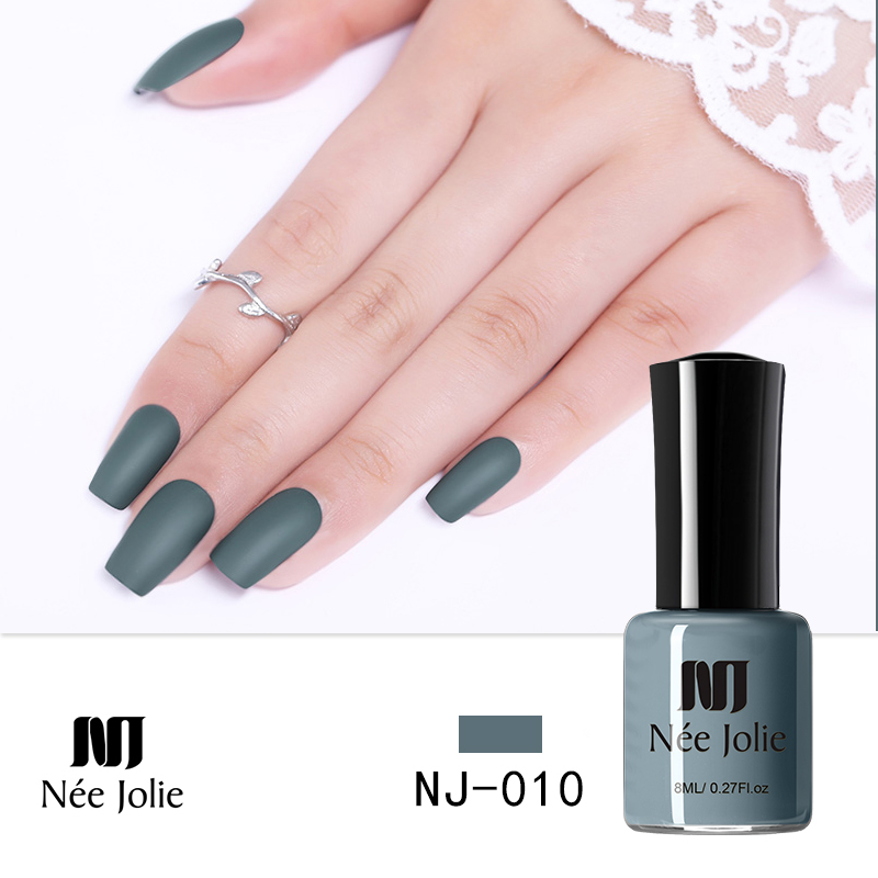 NEE JOLIE 8ml Nail Polish Pure Series Matte Effect Nail Art Polish 7 5ml Mirror Nail Lacquer 64 Colors Available Decoration in Nail Polish from Beauty Health
