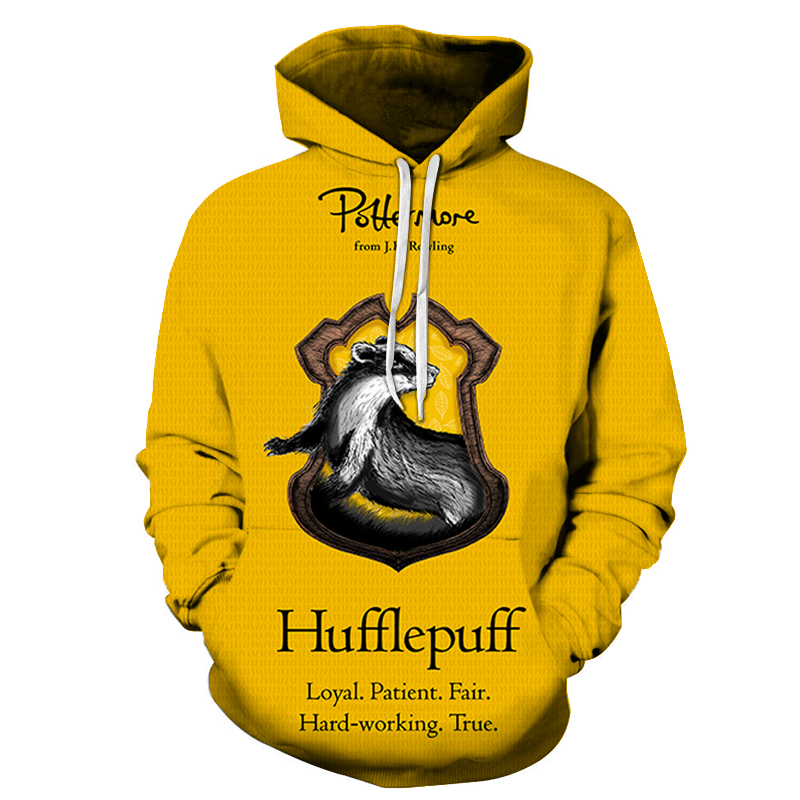 Casual Hufflepuff Movie Printed Sweatshirt Autumn Men Women Long Sleeve Tracksuit Hoodies For Male Streetwear Man Hoodies