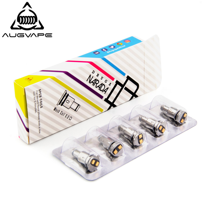 Augvape 5pcs/pack Replacement Coils For Druga Narada Pod Kit 0.5ohm 0.6ohm Mesh Coil 0.5 SS 316 0.6 Kanthal Coil For Narada POD