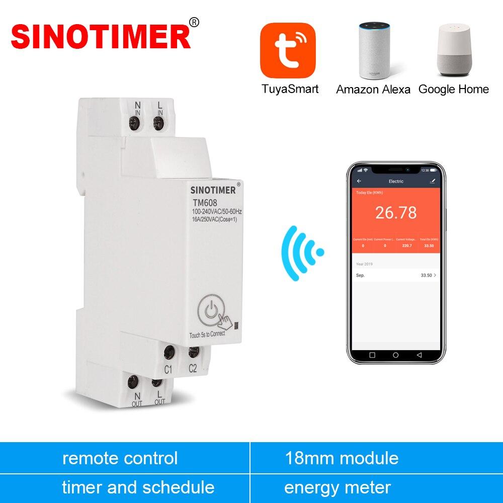 18mm Einphasig Digital Timer Schalter Fernbedienung WiFi Smart Licht Control Schalter Programmierer mit Energie Überwachung AC 110V 220V 16A-in Timer aus Werkzeug bei