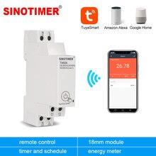 Interrupteur de minuterie numérique monophasé 18mm, télécommande WiFi intelligente pour éclairage, programmateur avec contrôle de l'énergie AC 110V 220V 16A