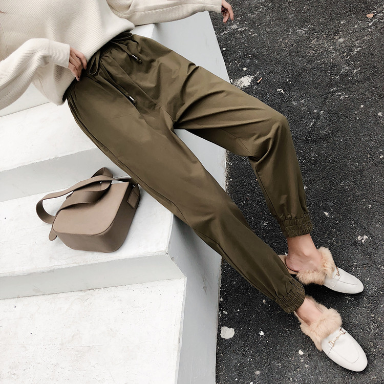 CHIC Early Autumn American-Style Harem   Pants   Women's Loose-Fit BF Style Beam Leg   Capri   Ulzzang Casual INS Bib Overall Autumn