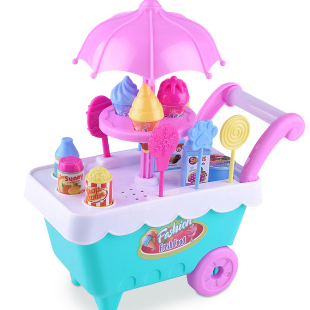 New Kids Pretend Role Play Toys Simulation DIY Candy Ice-Cream Trolley Set Learning Educational Toys for Children Birthday Gifts