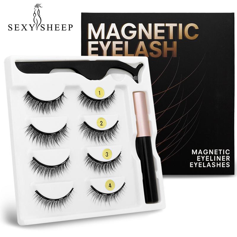 SEXYSHEEP 2/4 pairs 3D Magnetic Eyelashes Magnet Eyeliner Fake lashes Waterproof Liquid Long Lasting Eyelashes Set for Makeup