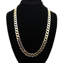 Environmental protection alloy chain fashion Cuban necklace 12mm wide 80cm long necklace hip hop jewelry sitaicery simple men twist oblate wide chain necklace party jewelry birthday gift new hip hop gothic fashion cuban link chain