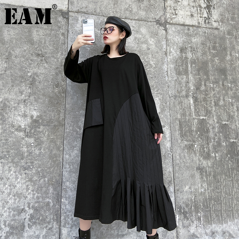 [EAM] Women Pocket Asymmetrical Ruffles Big Size Dress New Round Neck Long Sleeve Loose Fit Fashion Spring Autumn 2020 1R517