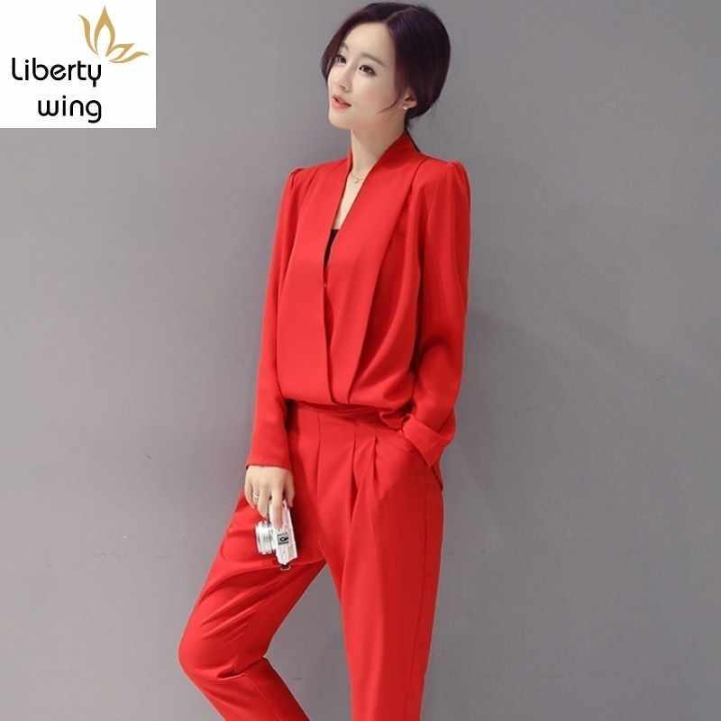 Oficina señora elástico cintura Pantalones largos manga larga pulóvers Tops trajes mujeres sólido 2 piezas conjuntos primavera coreano nuevo