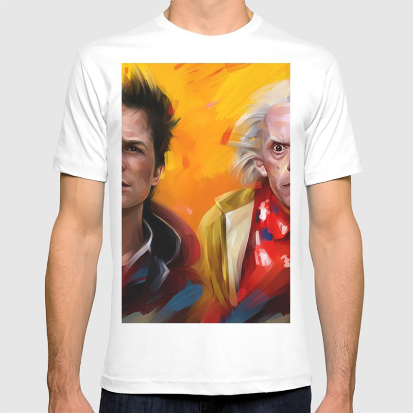 Bttf T Shirt Bttf Movie Film Science Fiction Classic 1980s Yellow Marty Mcfly Emmett Brown image