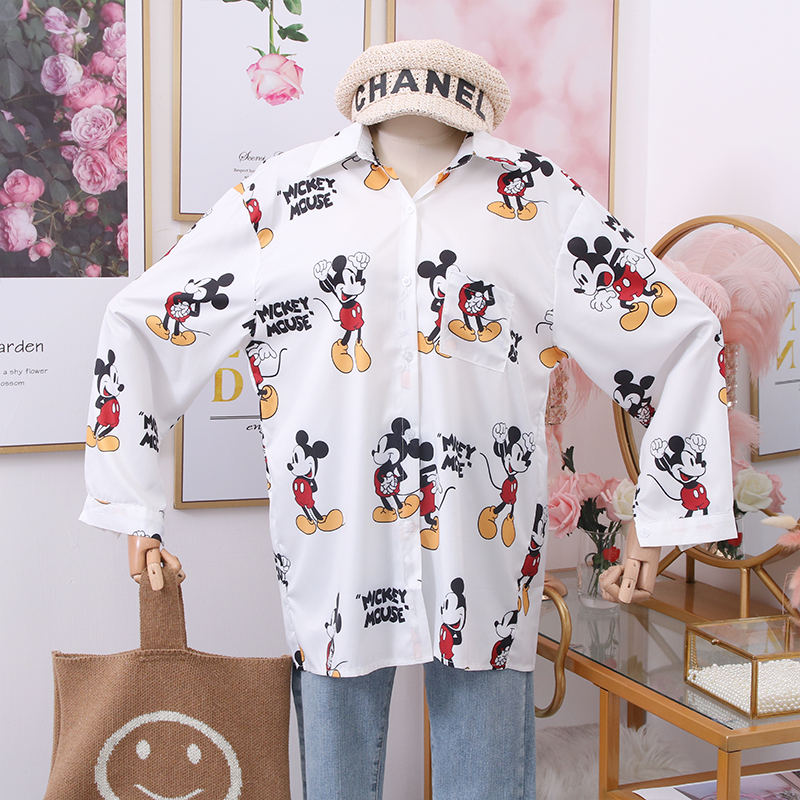 2020 New Fashion Wild Cartoon Mickey Minnie Donald Duck Printed Loose Lapel Long Sleeve Shirt Women