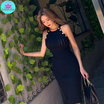 2020 summer new round neck sleeveless sexy slim knit dress handbag hip dress Sleeveless  Solid  Button  O-Neck surplice neck mixed media dress