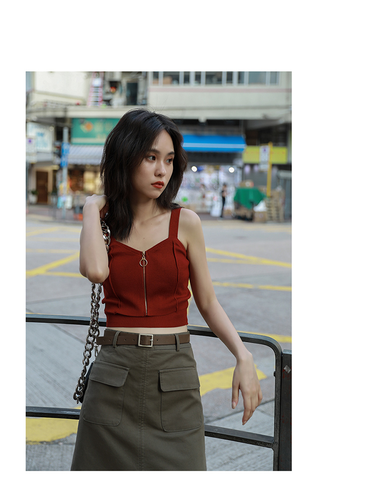 H7c5e60beda5a4937a6eba087479836cfg - HELIAR Tops Women Crop Top Club Sexy Zipper Knitting Camisole With Hole Female Tank Tops Ladies Sleeveless Solid Strap Top Women