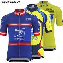 Postal ciclismo Vintage Jersey hombre Jersey de carreras de carretera ropa de verano de manga corta azul amarillo MTB bicicleta ropa cremallera completa bicicleta camisas