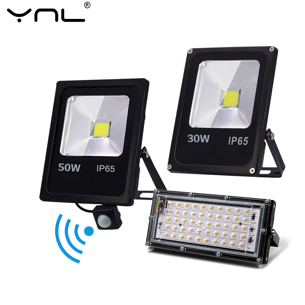 Motion Sensor LED FloodLight 220V 50W 30W 10W Outdoor Lighting Waterproof IP65 Reflector Led Flood Light Spotlight Exterieur|Floodlights|   - AliExpress