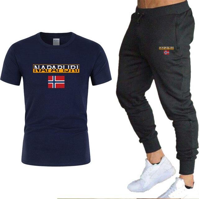 Men's sets t shirts + pants two pieces sets casual  3