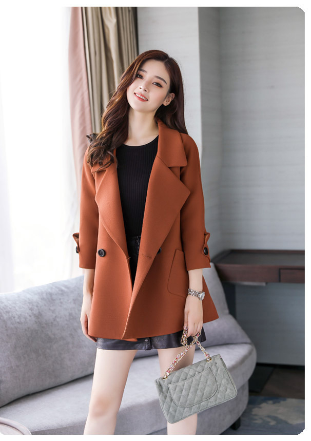 Autumn jacket women M-2XL plus size pink green beige coat 19 new long sleeve lapel fashion short paragraph jacket feminina LR484 36