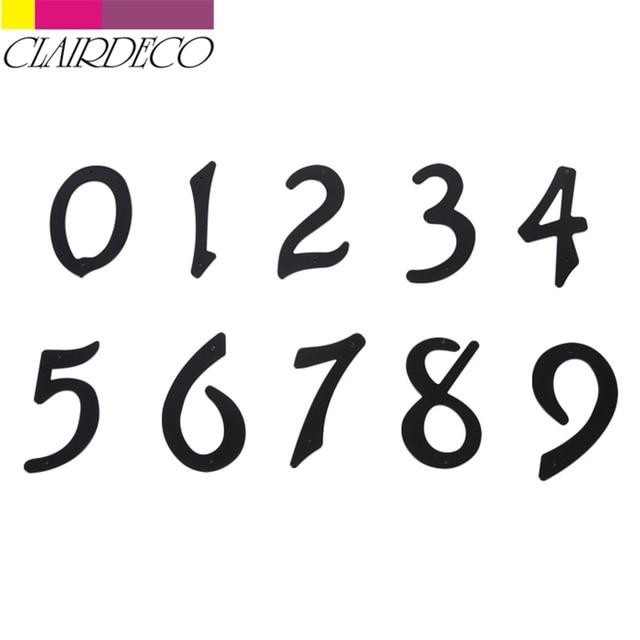 """4 """"101mm número da porta do endereço da casa dígitos prego de alumínio fixo caixa de correio endereço sinal #0-9 preto"""