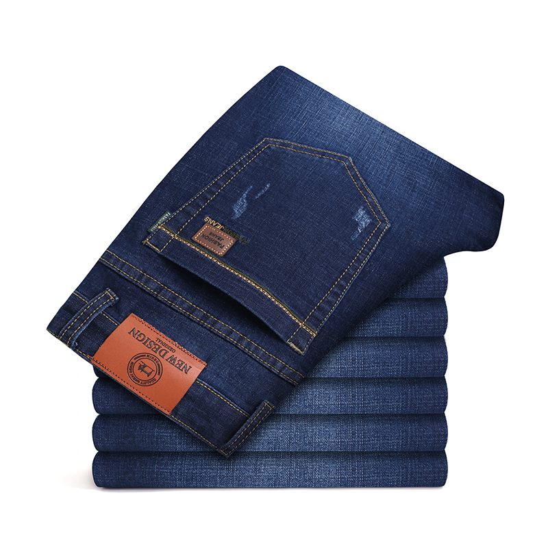 Autumn And Winter 2019 JEANS New Men's Business Slim Casual High Elastic Pants Tight Straight Tube Warm Jeans Black Blue 935