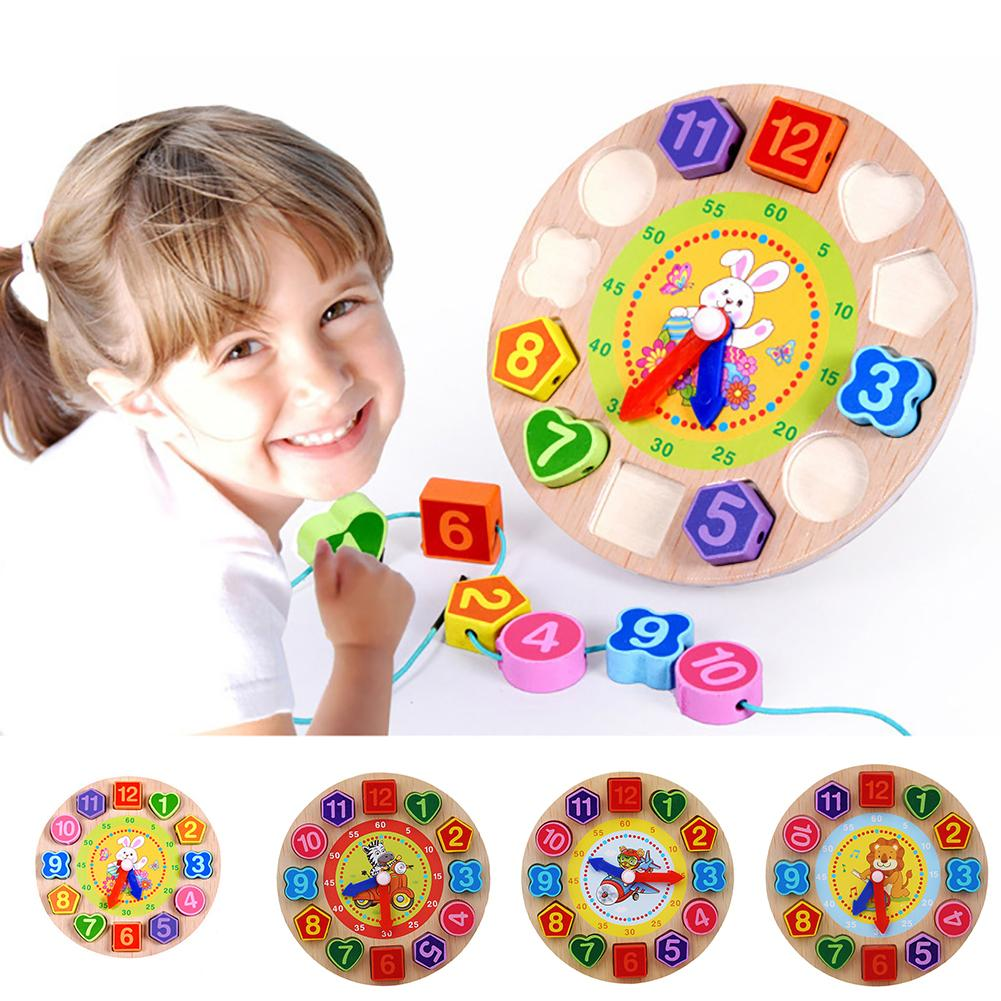 Wooden Colorful 12 Numbers Clock Toy Digital Geometry Cognitive Kids Puzzles Montessori Education Learning Toys