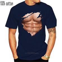 Phiking peito seis pacote abs músculos t camisa rasgada praia corpo