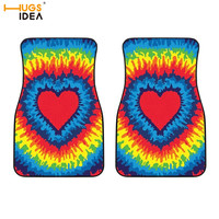 2Pcs Auto Floor Mats Colorful Rainbow Love Heart Print SUV Front Floor Carpets Dazzling Pride TIE DYE Washable Rugs for Vehicle