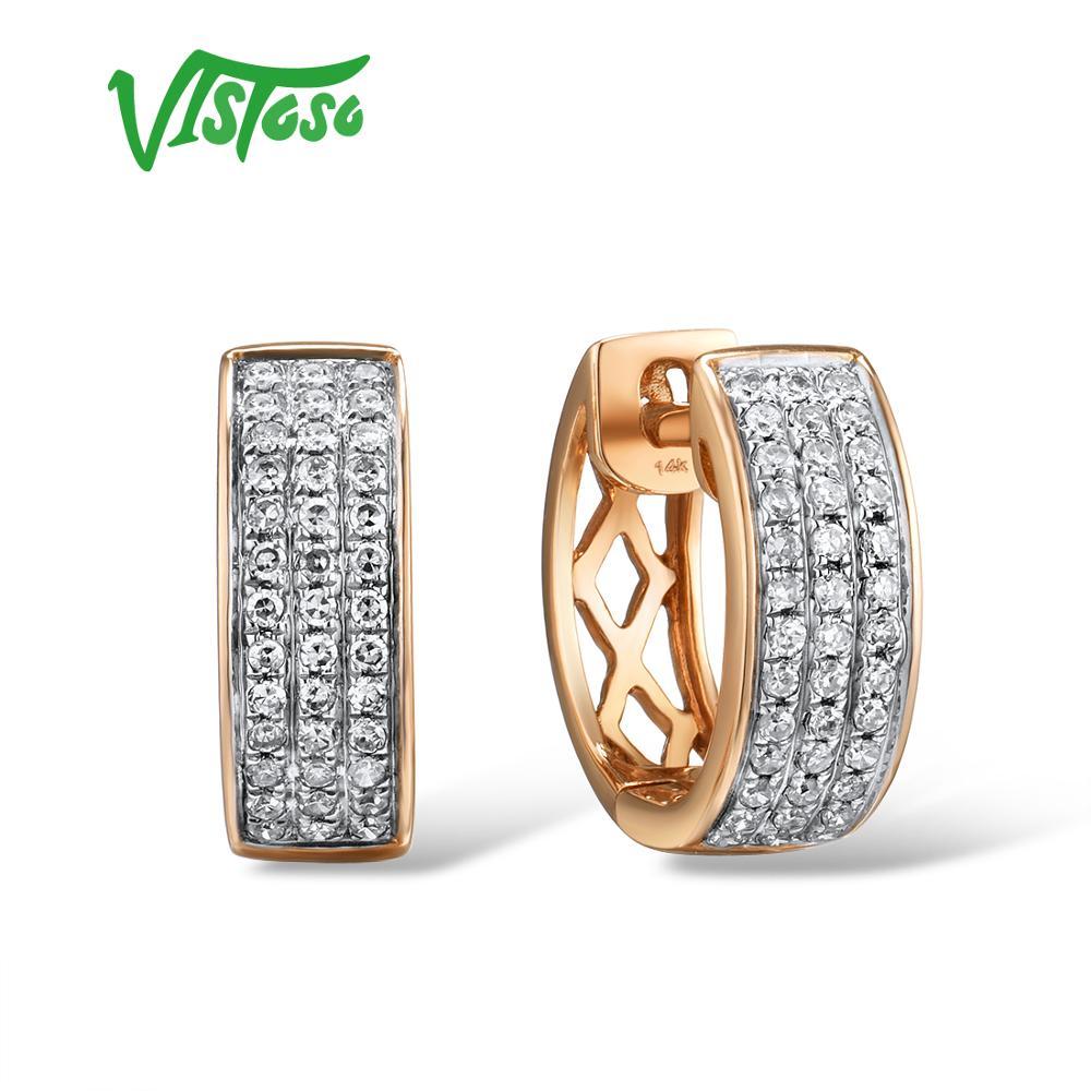 VISTOSO 14K 585 boucles d'oreilles en or Rose pour dame glamour élégant étincelant diamant boucles d'oreilles de luxe mariage fiançailles Fine bijoux