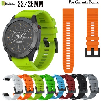 22 26mm Quick Release watchBand Strap For Garmin Fenix 6X /Fenix 6 /5X/5/ Fenix 3 3 HR 945 935 Easyfit sport Silicone Wriststrap stainless steel watch band 26mm for garmin fenix 3 hr butterfly clasp strap wrist loop belt bracelet silver spring bar