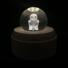 7CM 3D Pokemon Crystal Ball Christmas Decorations For home LED SMD Night Light Magic Ball Light Eevee Pikachu Great Master Ball