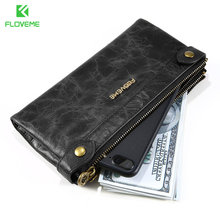 Genuine Leather Women Cellphone Pouch Wallet Large Capacity Three Layers Zipper Coin Purse Female Wrist Bag Clutch New
