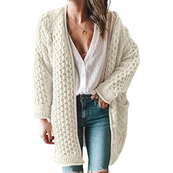 2020 New Cardigan Coat Womens Pockets Sweater Long Loose Autumn Warm Sweater Coat Solid Thick Knitted Cardigan Female fengguilai 2020 european spring autumn abstract pattern loose bat sleeve women long cardigan sweater thick sweater coat female