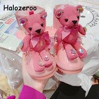 Zimowe dziecięce śniegowce dziewczynek niedźwiedź botki maluch ciepłe oryginalne skórzane buty damskie buty marki moda księżniczka buty|Buty|Matka i dzieci -
