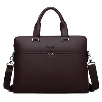 """JEEP BULUO Famous Brand Business Briefcase Bag Cow Split Leather High Quality Men Bags For 14\"""" Laptop A4 Male Hand Bag 1373-2"""
