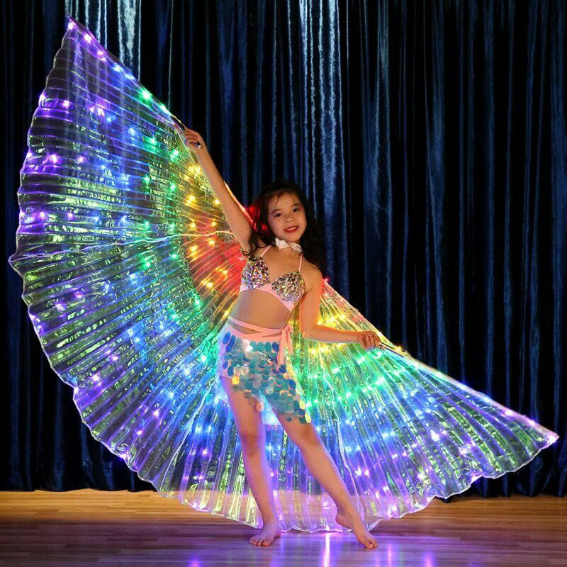 New Hot Rainbow Wing LED Butterfly Costume Shawl Fairy Performance Clothing For Children SMR88