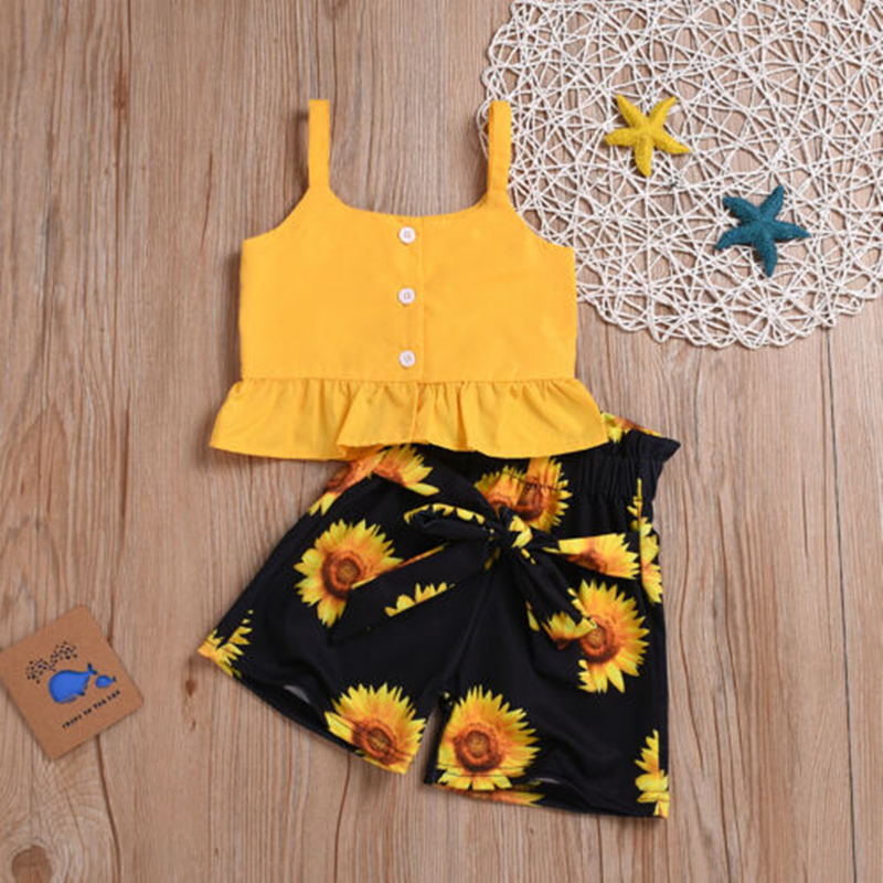 AU Toddler Baby Kid Girl Clothes Sleeveless Crop Tops Floral Shorts Pants Outfit With Bow