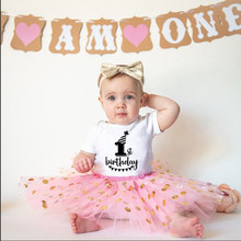My First Birthday Newborn Baby 1st Birthday Outfit Boy Girl Infant Cotton Romper Toddler Bebe Short Sleeve Fashion Cute Jumpsuit(China)