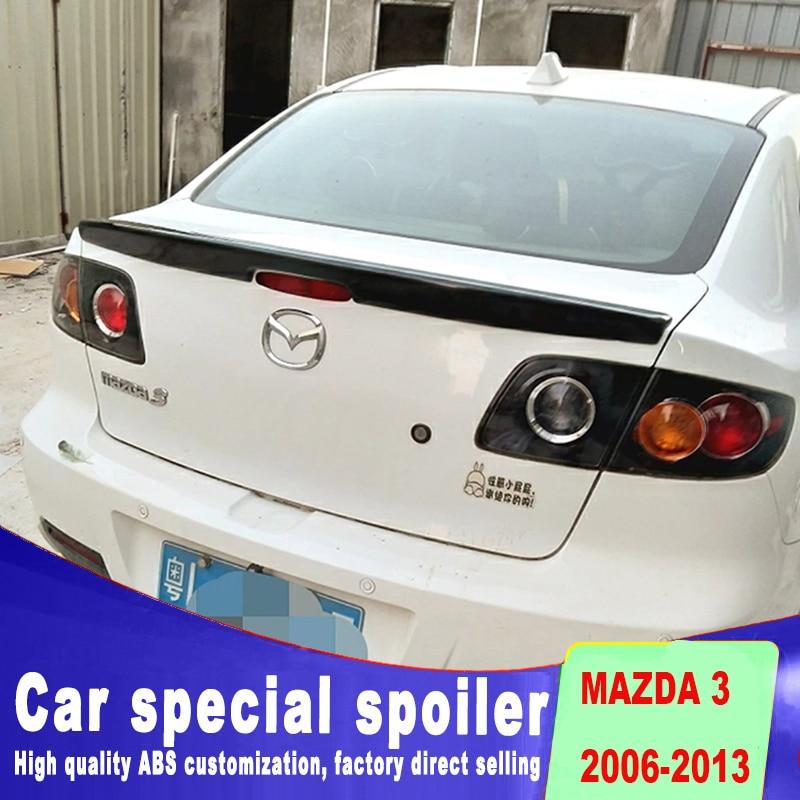 Embedded Golden Code spoiler for 2006 to 2013 rear trunk spoiler wings mazda 3 ABS material primer or black white spoilers