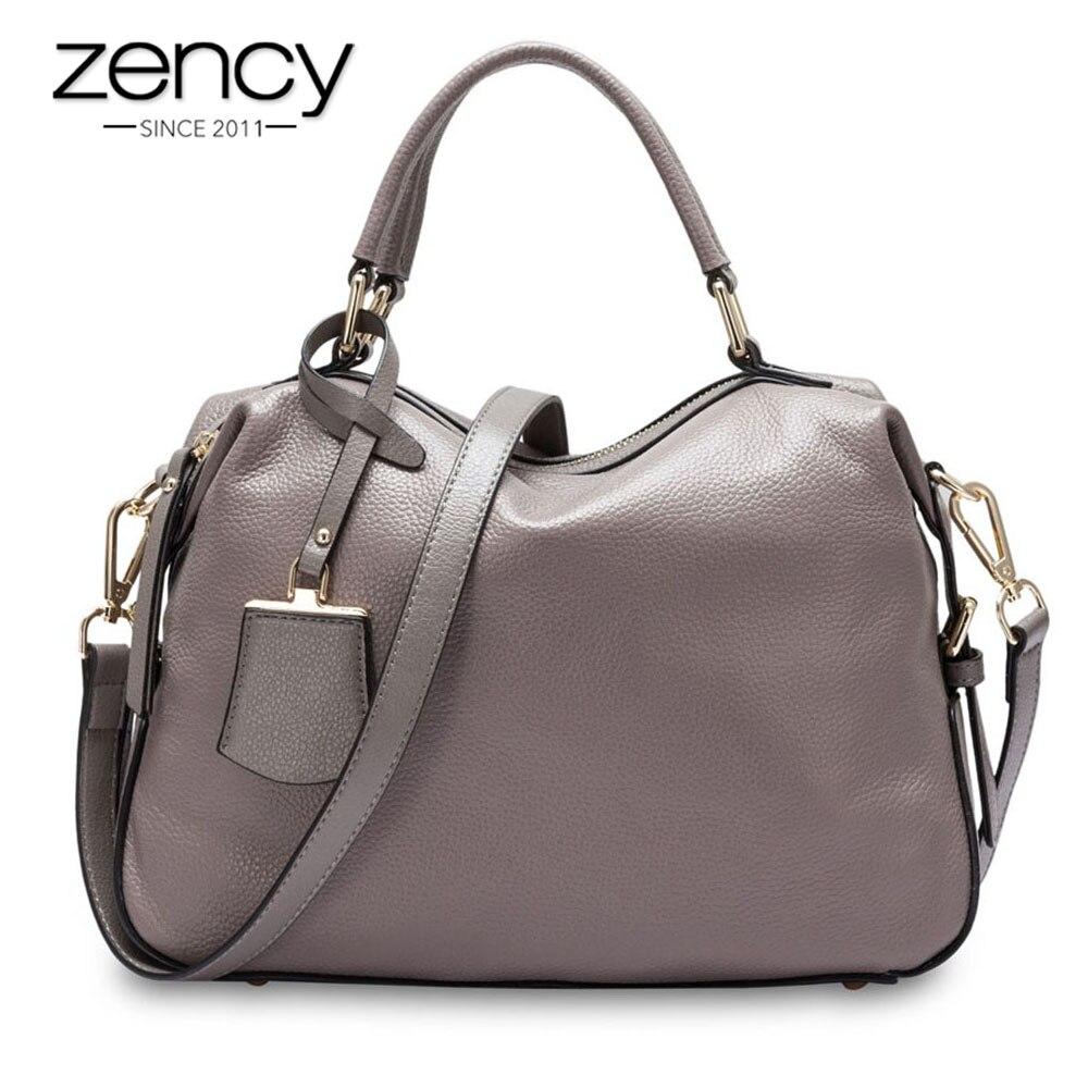 Zency 100% حقيقية حقائب يد جلدية الأزياء حقيبة نسائية صغيرة حقيبة الإناث بوسطن سحر الفاخرة رسول Crossbody محفظة حقائب كتف-في حقائب قصيرة من حقائب وأمتعة على  مجموعة 1