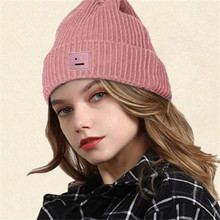 Knitted Hat Bonnets Beanie Skullies Smiley-Face Embroidery Winter Women's Warm for Couple