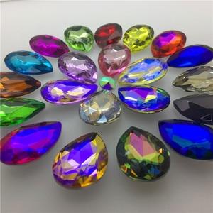Image 2 - TopStone 30pcs Biggest Size 30x40mm Teardrop Crystal Fancy Stone Pear Drop Bling Crystal Rhinestone For Jewelry Making