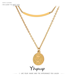 Yhpup Trendy Portrait Coin Layered Pendant Necklace for Women Stainless Steel Collane Donna Statement Jewelry Bijoux Femme 2020